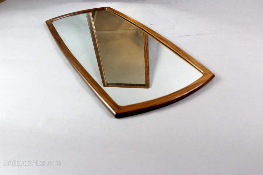 Mid Century Modern Teak Framed Wall Mirror