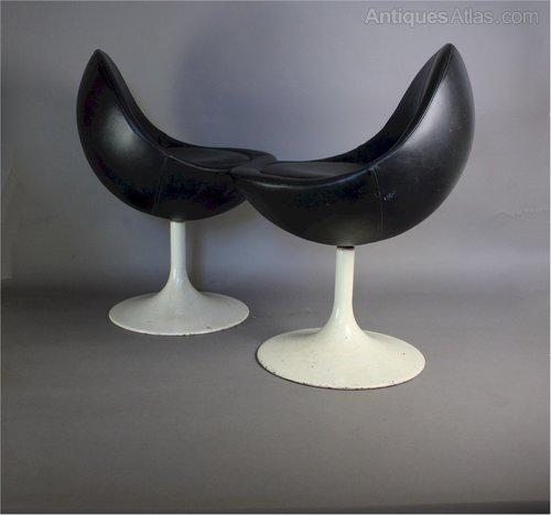 Pair Of Swivel Venus Pod Chairs By Borge Johansen