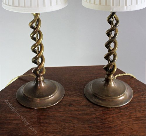 Antiques Atlas Pair Of Brass Barley Twist Table Lamps C1920 S