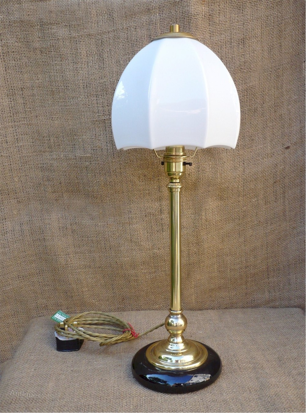 antiques atlas unusual table lamp in brass with ceramic base
