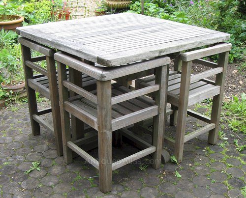 & Antiques Atlas - Weathered Teak Garden Set Of Table And Four Chairs