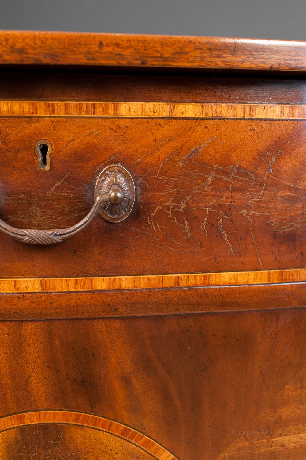 Inlaid Mahogany Bow Front Cabinet Vintage Side Cabinets %%alt5%% ... - Antiques Atlas - Inlaid Mahogany Bow Front Cabinet