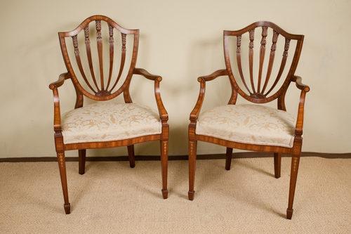 Pair of Inlaid Mahogany Shield Back Chairs - Pair Of Inlaid Mahogany Shield Back Chairs - Antiques Atlas
