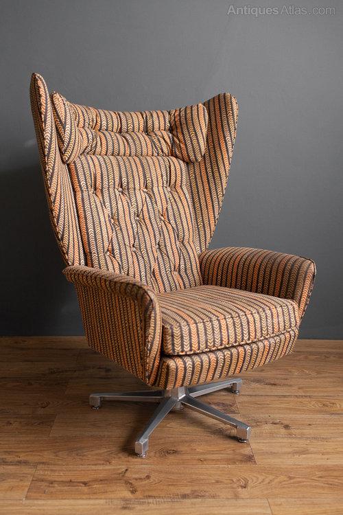 Retro Swedish Swivel Wing Chair ...