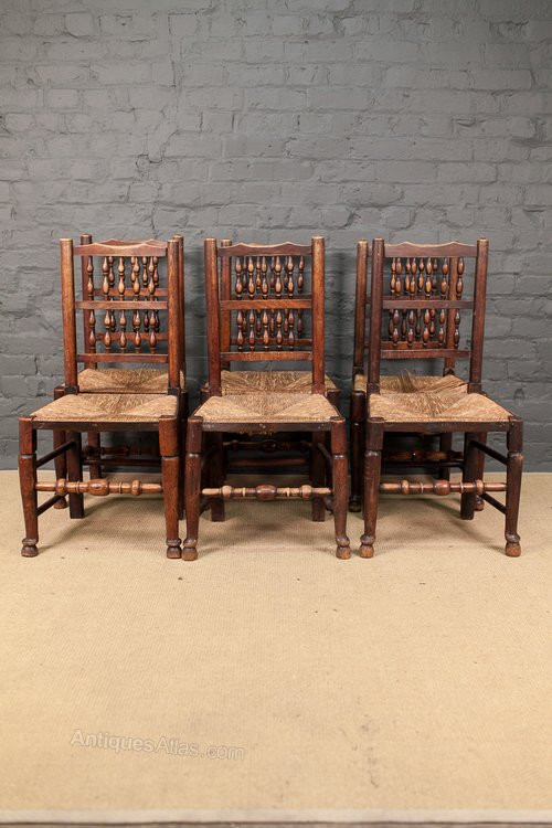 Set Of 4 Rush Seat Lancashire Spindle Back Chairs