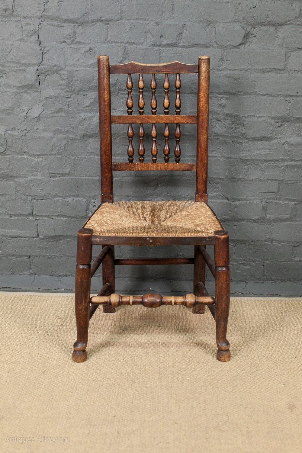 Set of 4 Rush Seat Lancashire Spindle Back Chairs Antique ... - Set Of 4 Rush Seat Lancashire Spindle Back Chairs - Antiques Atlas