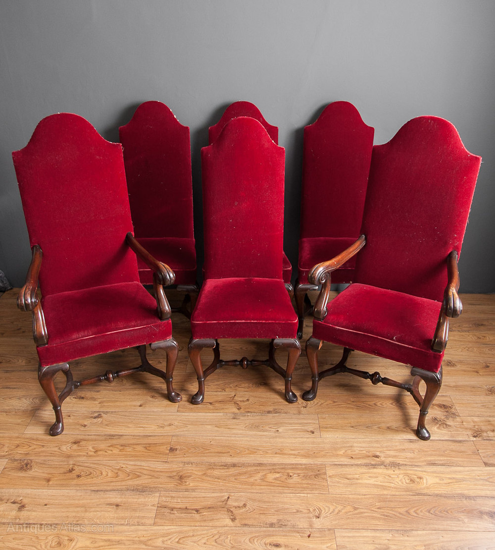 Set Of Six Upholstered High Back Chairs Antique