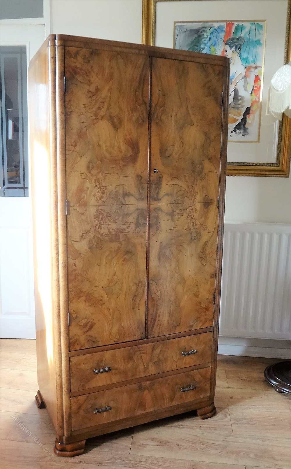 1930`s Figured Walnut Wardrobe
