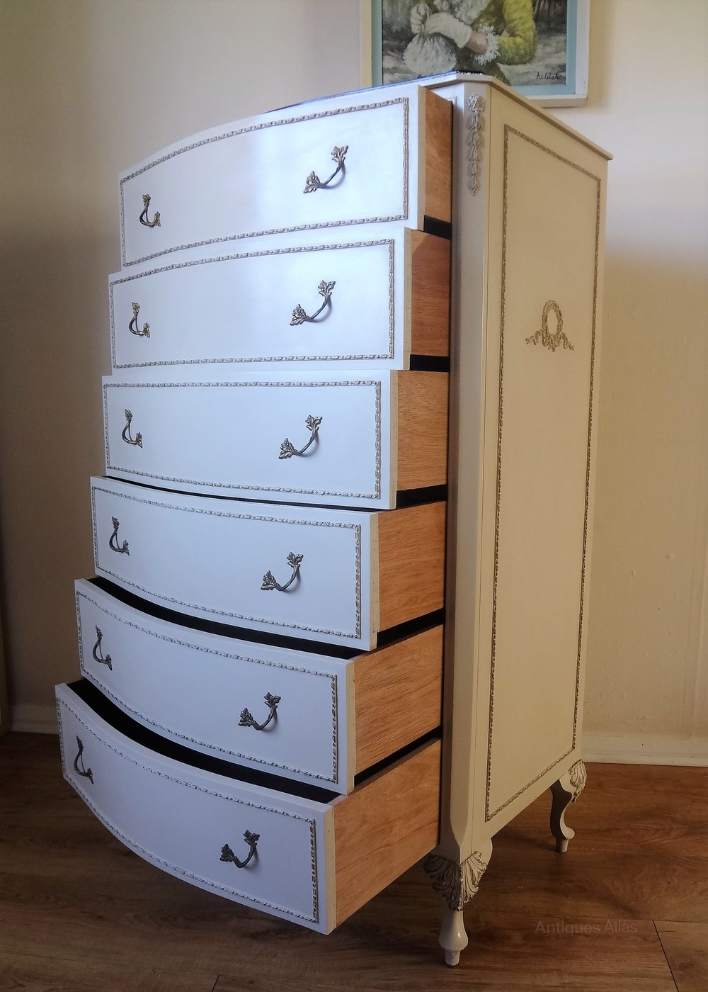 French Painted 6 Drawer Chest Of Drawers Antiques Atlas
