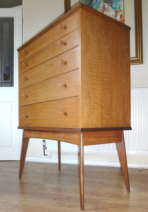 century mid danish chest veneer in teak of drawers design