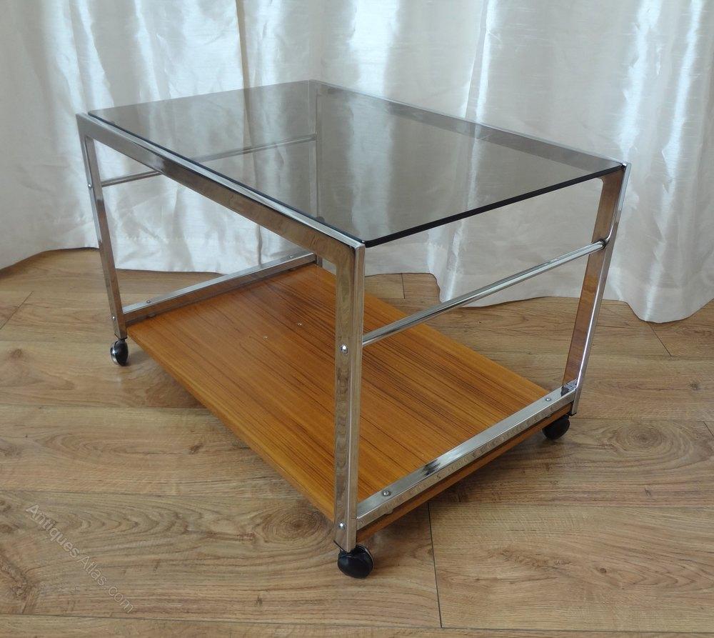 Retro Howard Miller Chrome Teak Trolley Table Vintage Trolleys