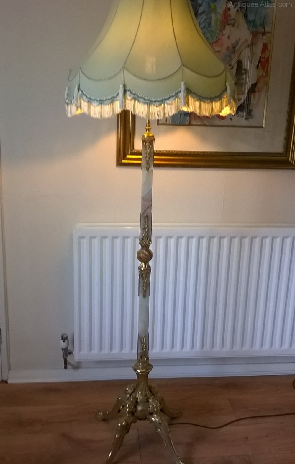 Antiques Atlas Standard Lamp Brass Onyx With Shade
