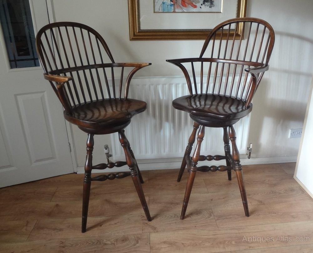 Antiques Atlas Tall Windsor Oak Swivel Seat Bar Stools