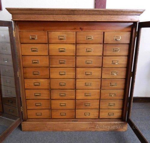 32 Drawer Collectors Cabinet Antique Collectors Cabinets and Museum Cabinets  ... - 32 Drawer Collectors Cabinet - Antiques Atlas