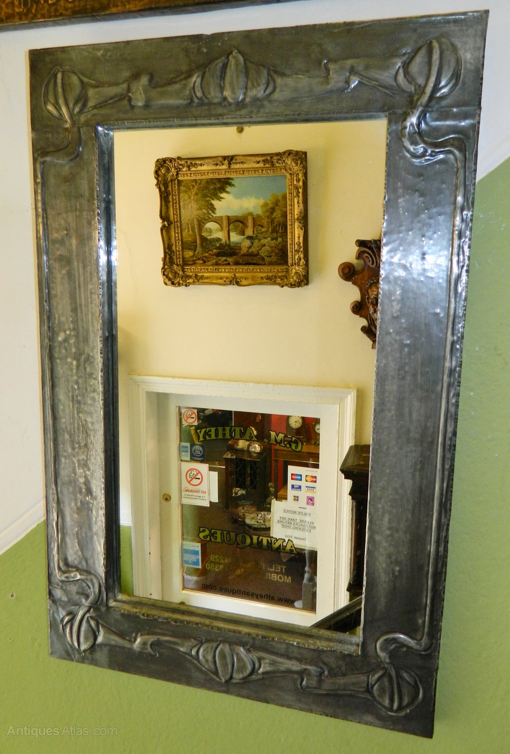 Antiques Atlas - Art Nouveau Pewter Framed Wall Mirror