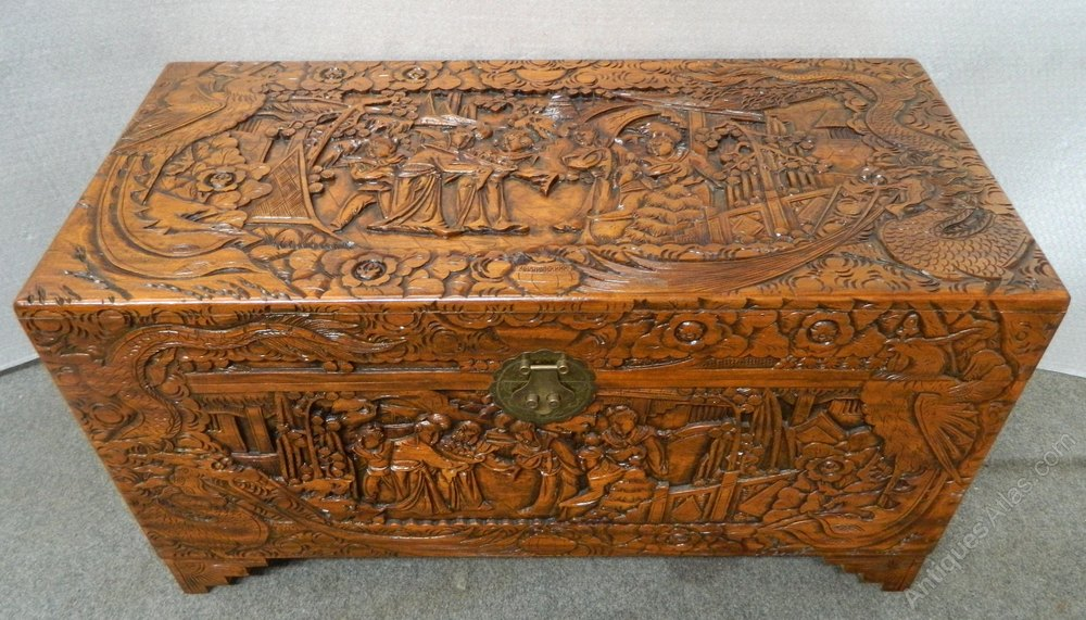 Chinese Camphor Wood Trunk Antique Blanket Chests ...