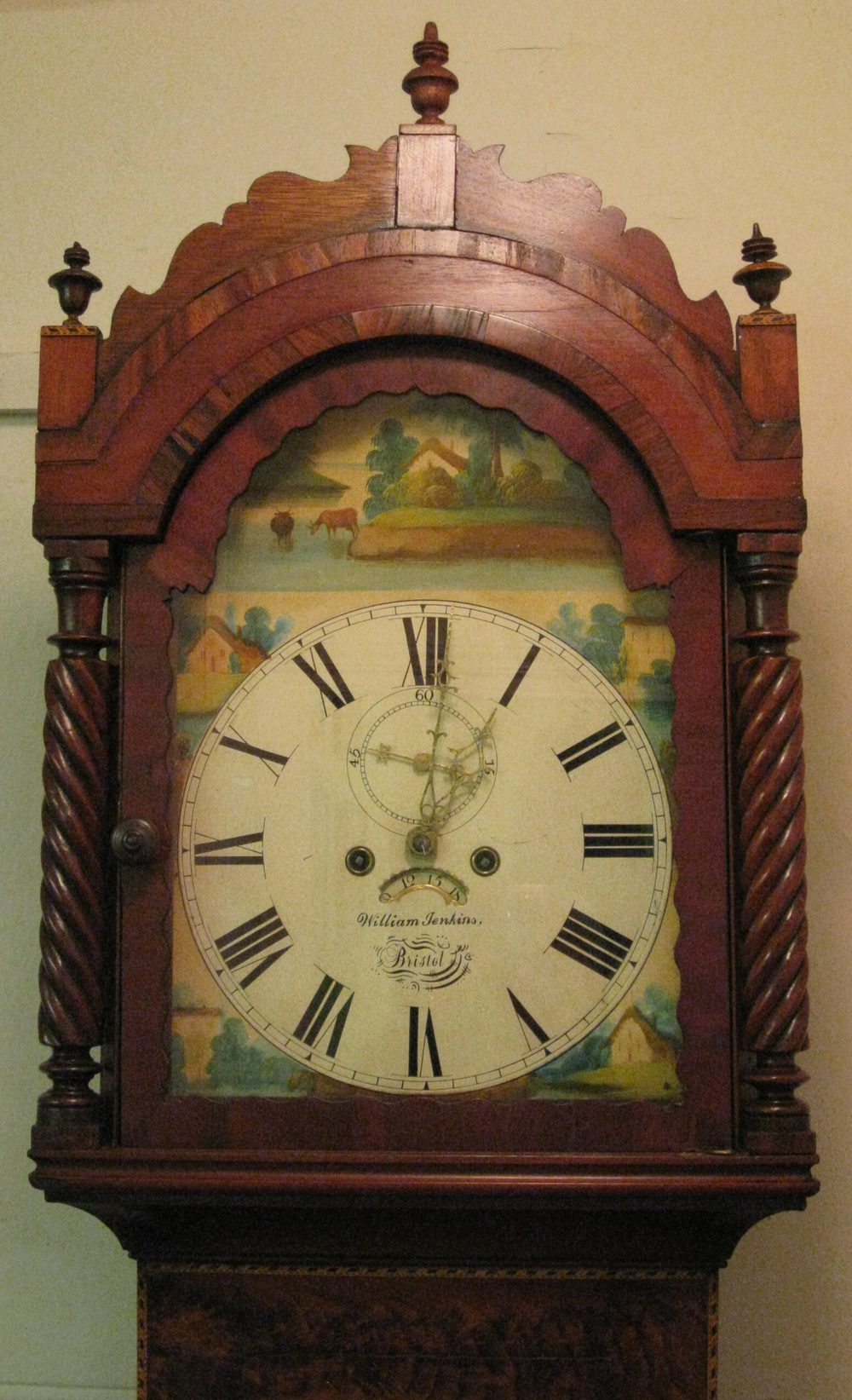Antiques Atlas - MAHOGANY PAINTED FACE GRANDFATHER CLOCK