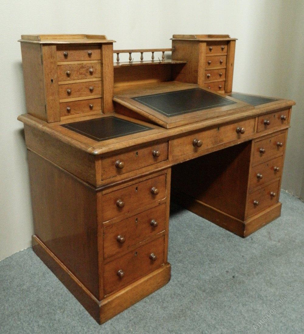 Victorian Oak Ens Style Desk Antique Desks