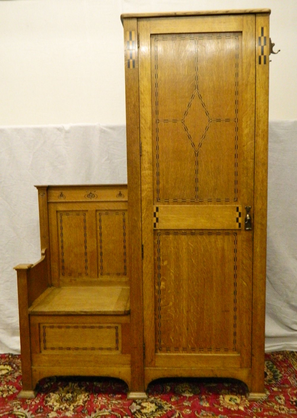 Arts Amp Crafts Oak Hall Cupboard Hall Seat Antiques Atlas