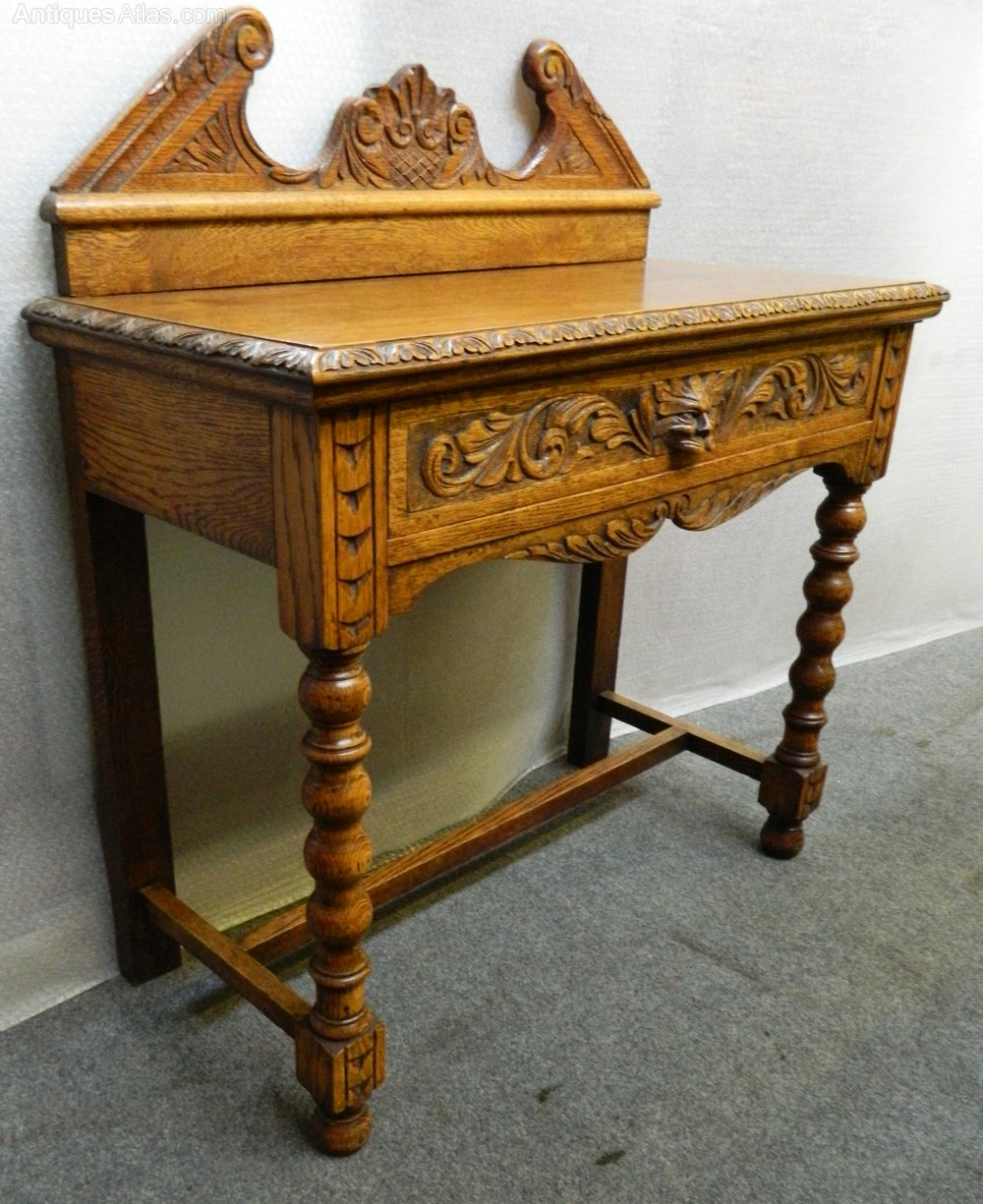 Oak Hall Table ~ Carved oak hall table antiques atlas