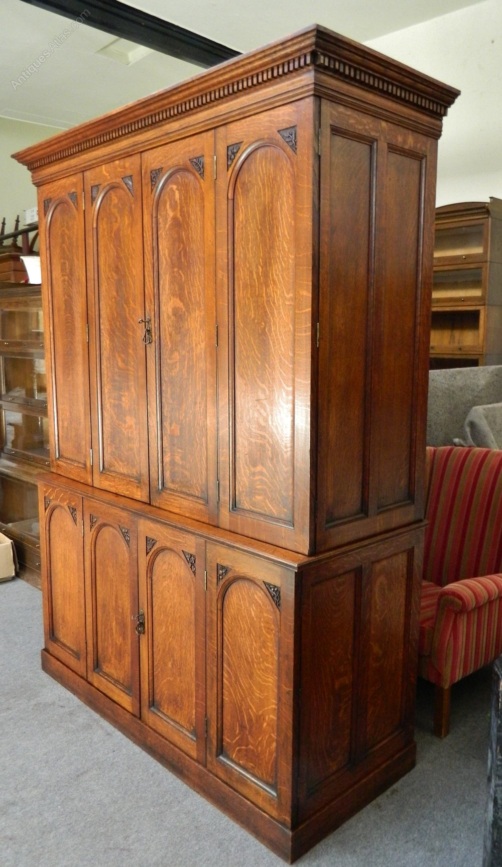 Large victorian oak housekeepers cupboard kitchen for Big cupboard