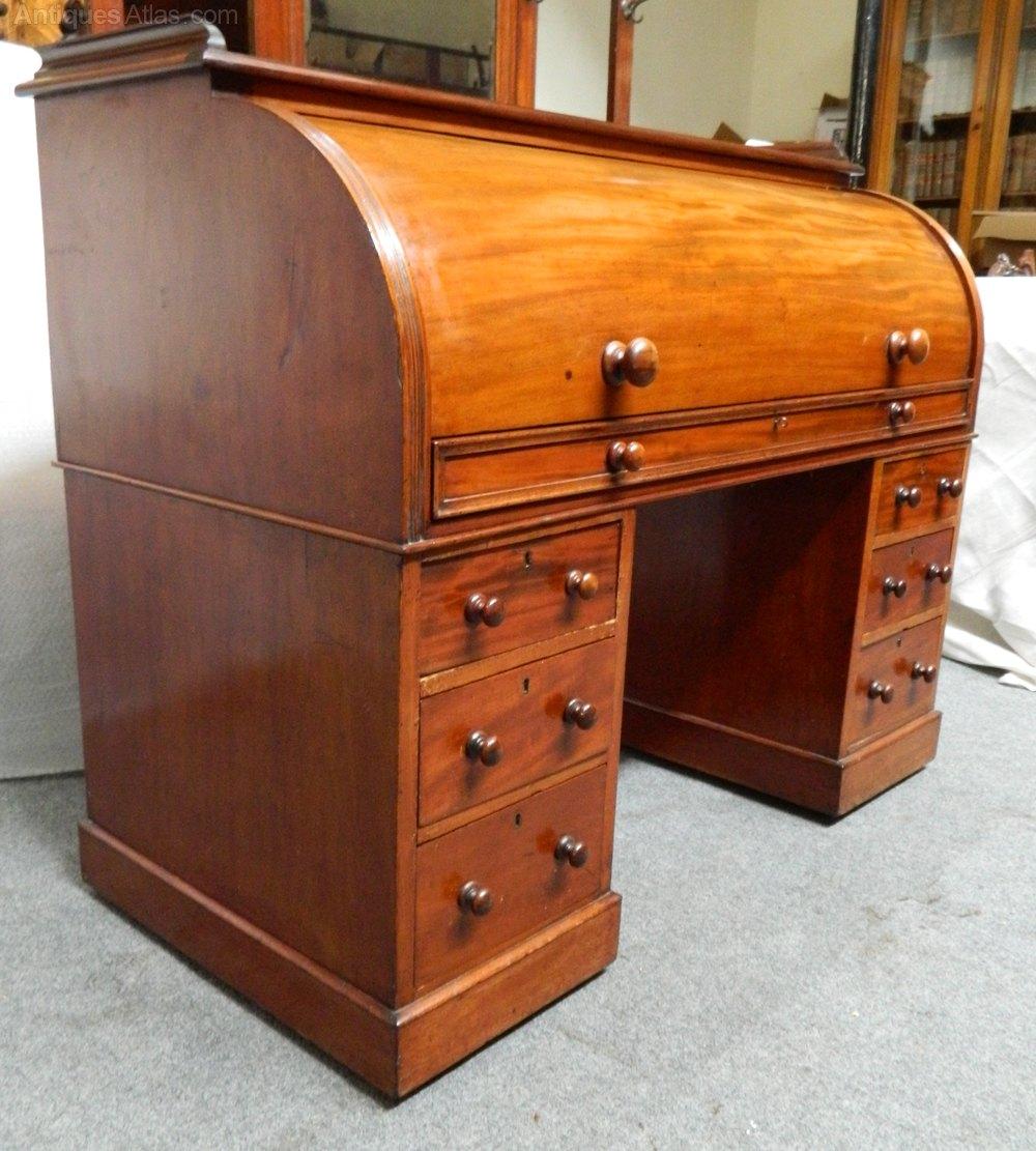 ... desk cylinder bureau %%alt5%% ... - Mahogany Cylinder Desk / Roll Top Desk - Antiques Atlas
