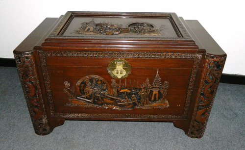 Oriental carved camphor wood trunk antiques atlas