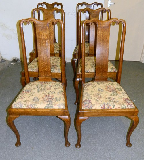 Set Of Six Oak Queen Anne Dining Chairs