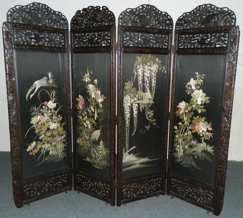 Superb Large Oriental Embroidered Silk Room Screen