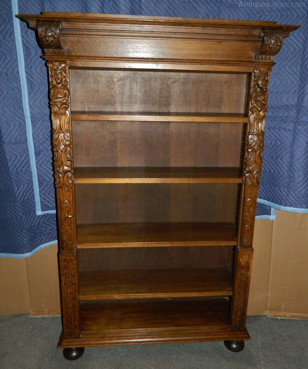 Tall Carved Oak Bookcase