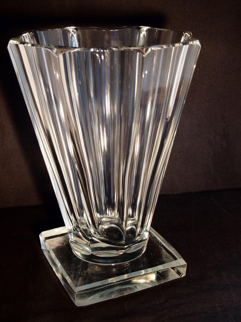 Antiques atlas clear heavy art nouveau vase with square base art nouveau heavy glass reviewsmspy