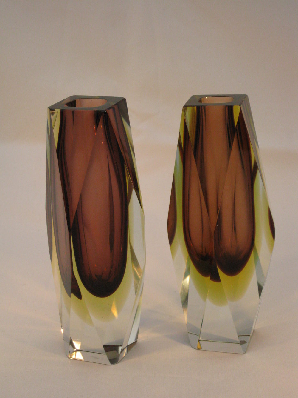 Antiques Atlas Murano Sommerso Multi Facet Cased Pair Vases