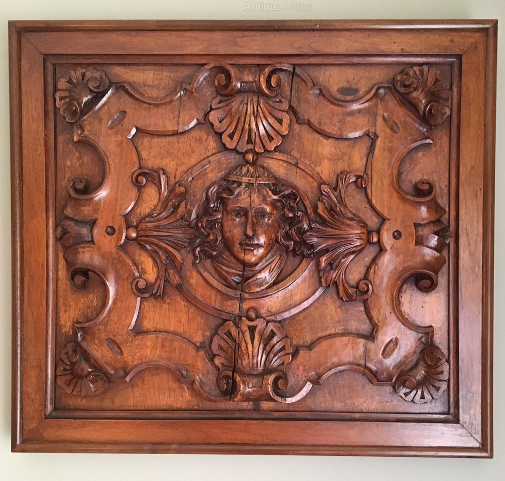 Antiques atlas carved walnut panels