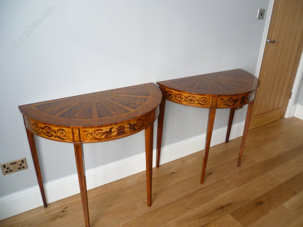 Pair Of Half Moon Tables ...