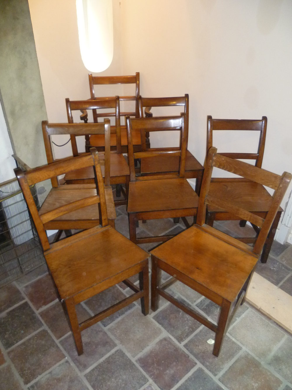 ... Country Chairs Antique Farmhouse Chairs - A Set Of 8 Oak Country Chairs - Antiques Atlas