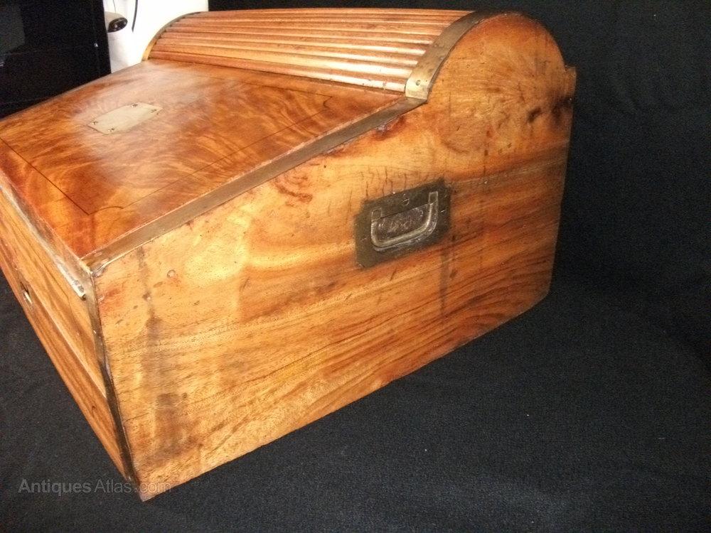 Rare Campaign Tambour Lapdesk Antique Writing Desks Camphor Wood