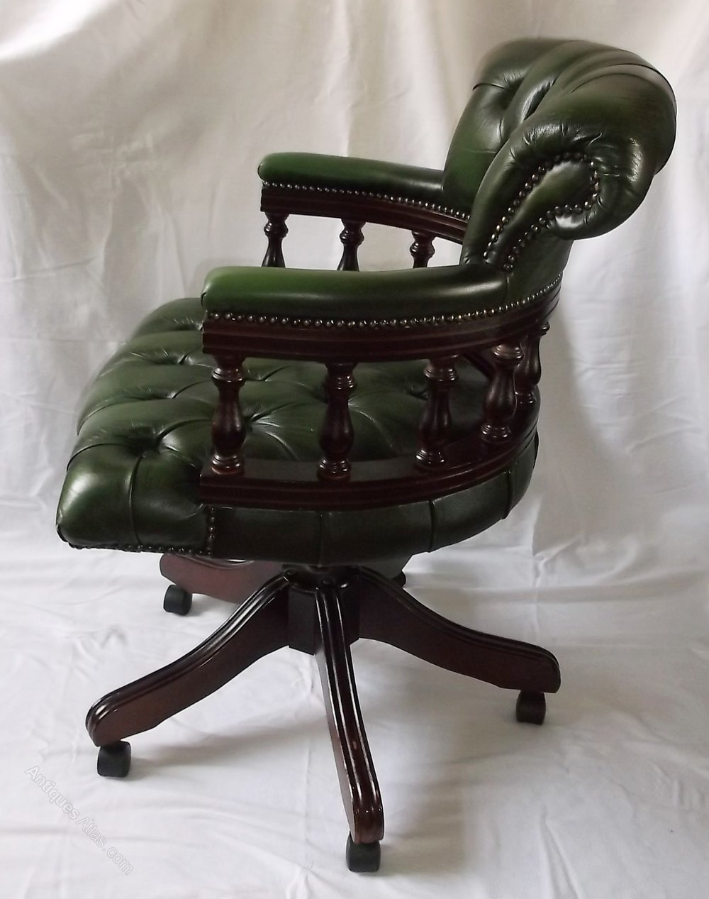 Victorian Style Leather Swivel Office Chair