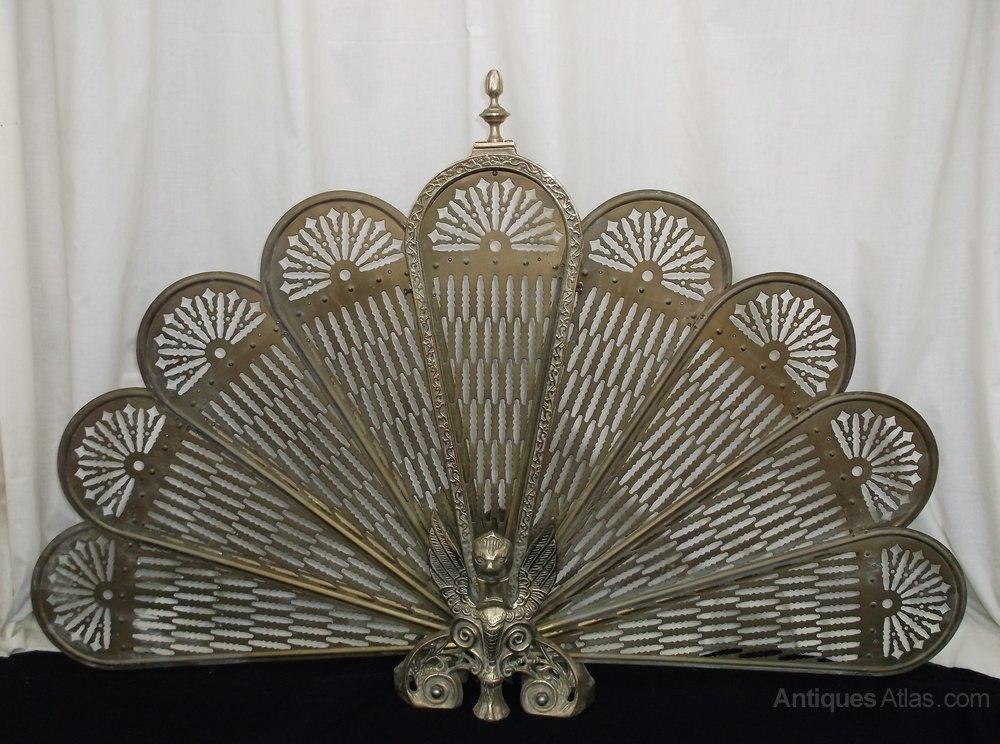 Vintage Brass Folding Fan Fire Screen, Brass Fireplace Screen Vintage