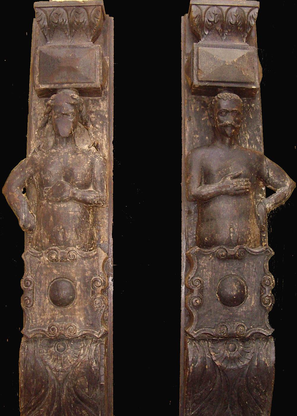 Antiques Atlas 16th Century Carved Oak Columns