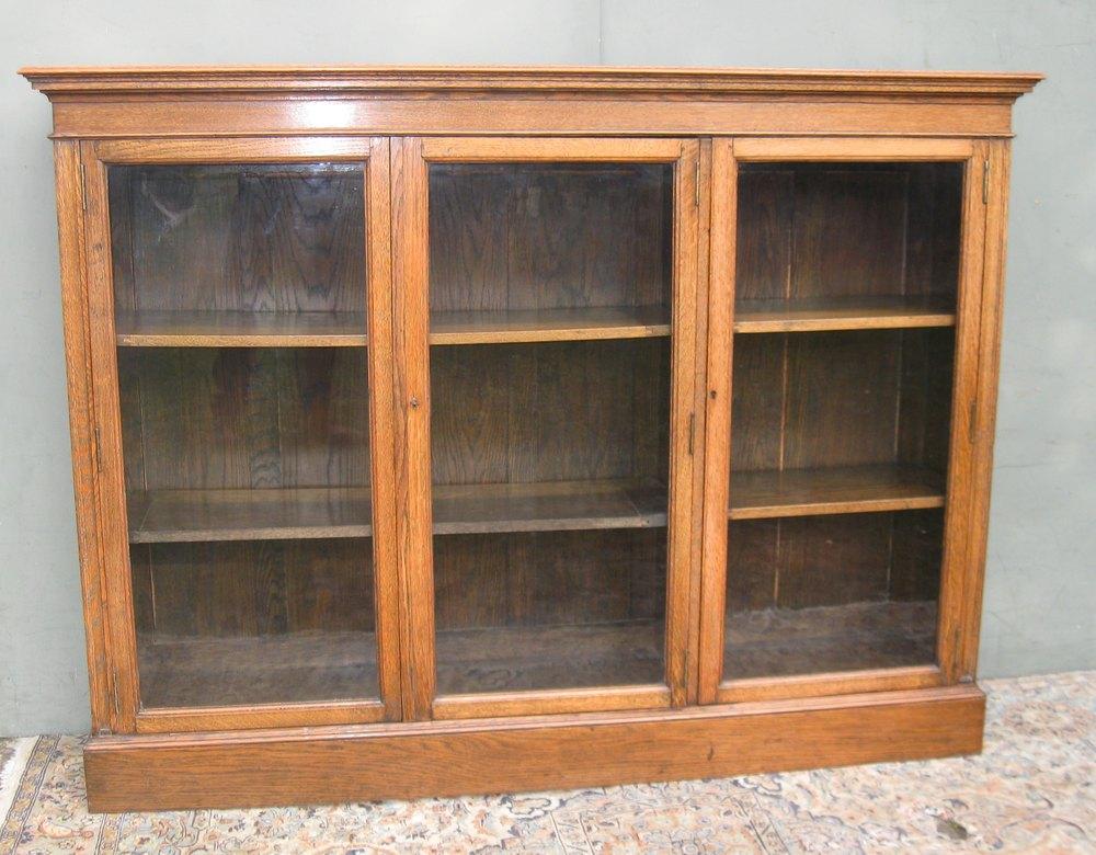 Large Oak Glazed Bookcase C1900