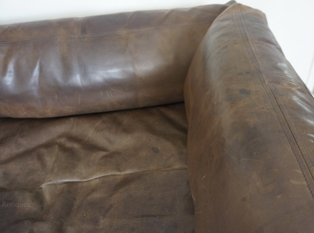 antiques atlas fine 1970s aged worn brown leather sofa