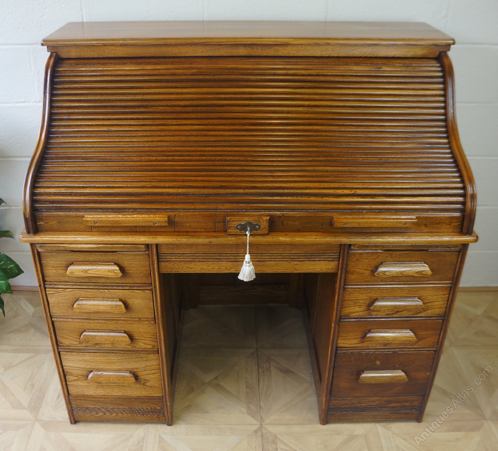 Photos Golden Oak Serpentine Tambour Roll Top Desk