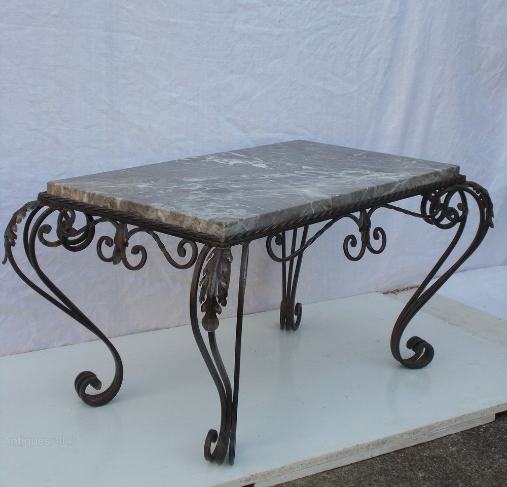 French wrought iron marble coffee table antiques atlas for Marble and wrought iron coffee table
