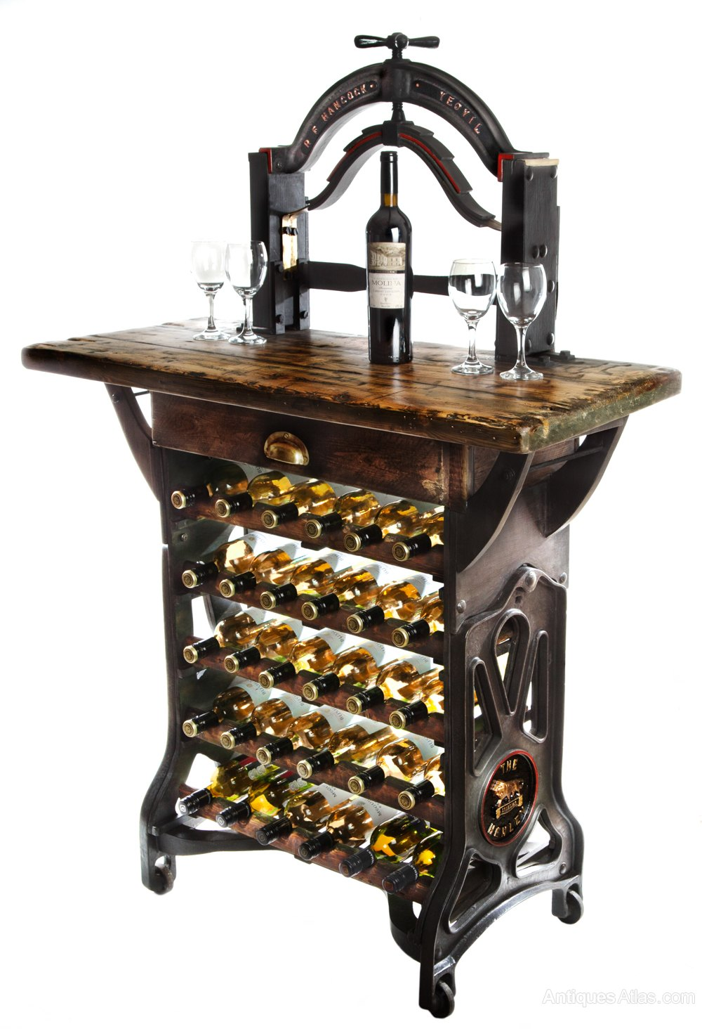 the henley victorian mangle wine rack table antiques