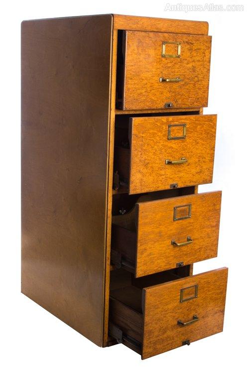 Vintage 1920s Golden Oak 4 Drawer Filing Cabinet Antique Filing Cabinets ... - Vintage 1920's Golden Oak 4 Drawer Filing Cabinet - Antiques Atlas
