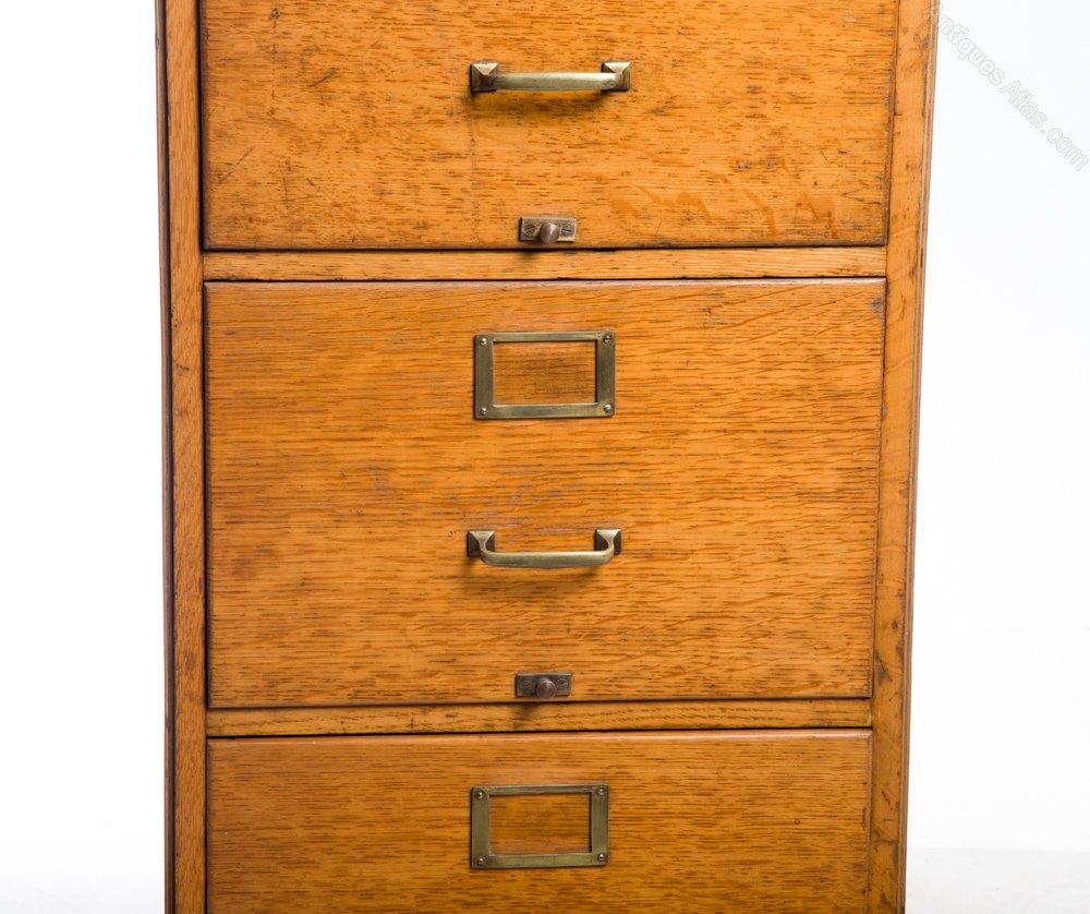 Vintage 1920s Golden Oak 4 Drawer Filing Cabinet Antique Filing Cabinets  Oak Filing Cabinet ...