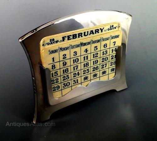 Antique Solid Silver Desk Calendar Birmingham 1914 ... - Antiques Atlas - Antique Solid Silver Desk Calendar Birmingham 1914