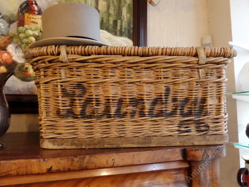 Large Vintage Wicker Laundry Basket Thirsk N A