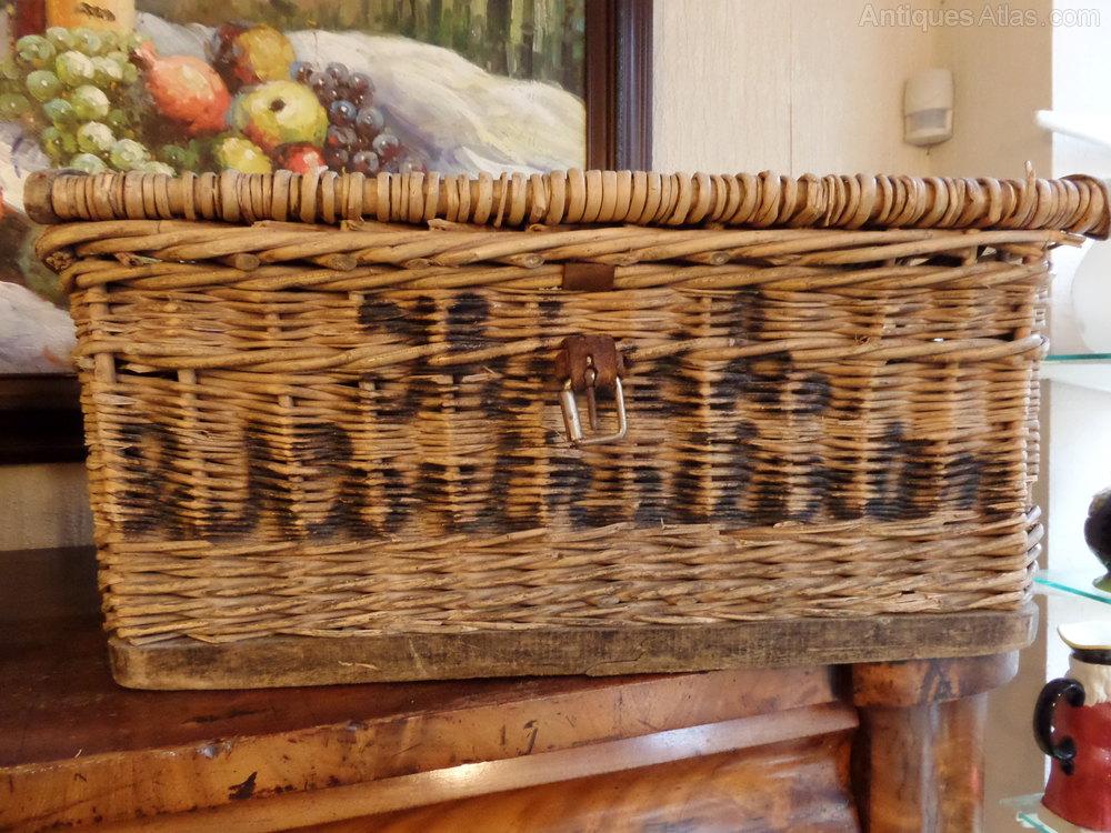 Antiques Atlas Large Vintage Wicker Laundry Basket