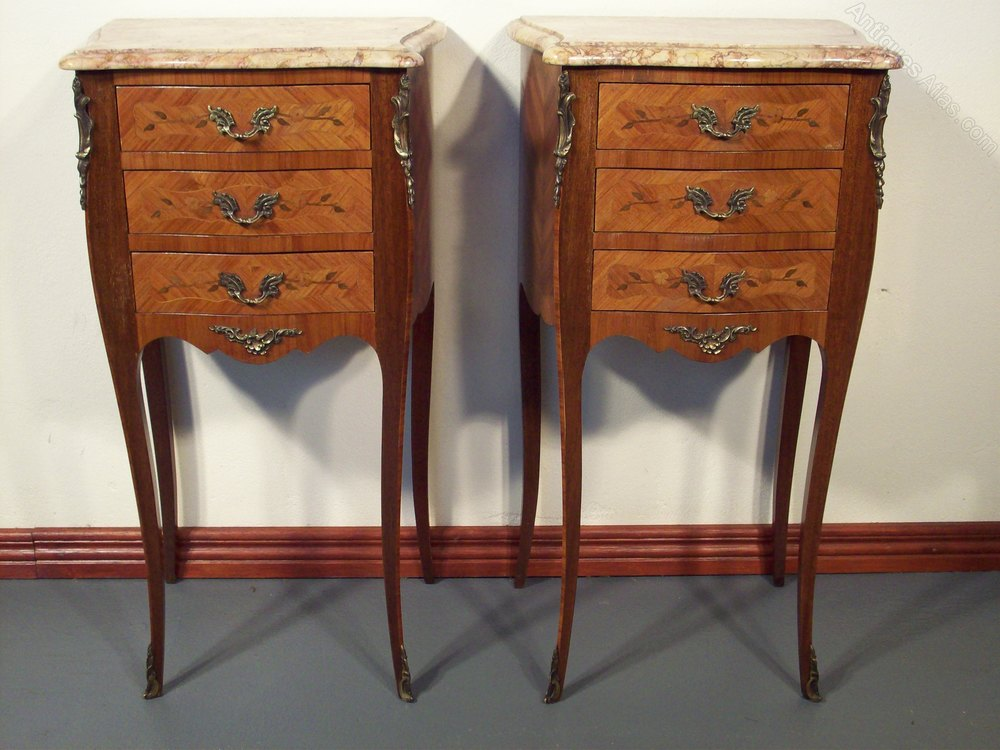 Perfect Pair French Marble top Bedside Chests Antique Bedside Chest of Drawers